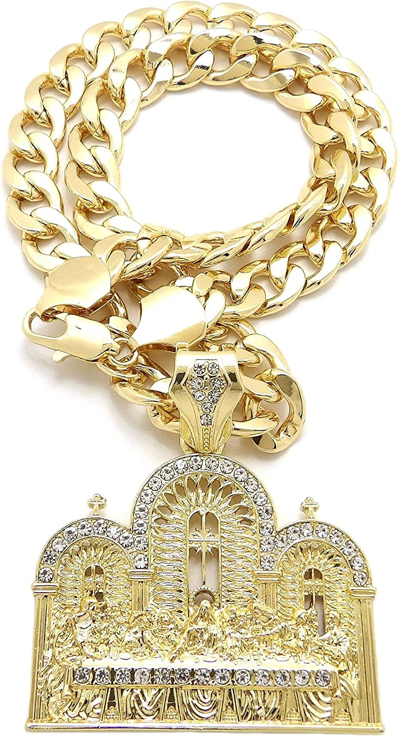 NYFASHION101 The Last Supper Pendant with 11mm Cuban Chain Necklace