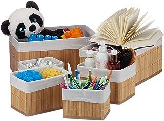 Relaxdays 10024309_126 Corbeille de Rangement en Tissu, Set de 6 paniers en Bambou, déco étagère Organiseur, Nature