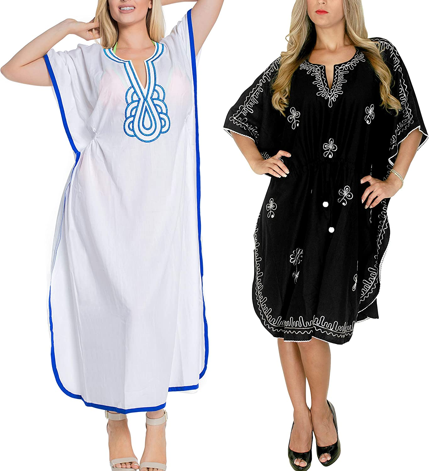 LA LEELA Women's Plus Size Beach Caftan Swimsuit Cover Ups US 16-28W Work from Home Clothes Women Midi Kaftan Casual Long Dress Maxi Cover up Pack of 2