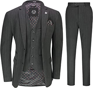 Mens Classic Tailored 3 Piece Office Suit Small Herringbone Weave in Charcoal Grey Brown