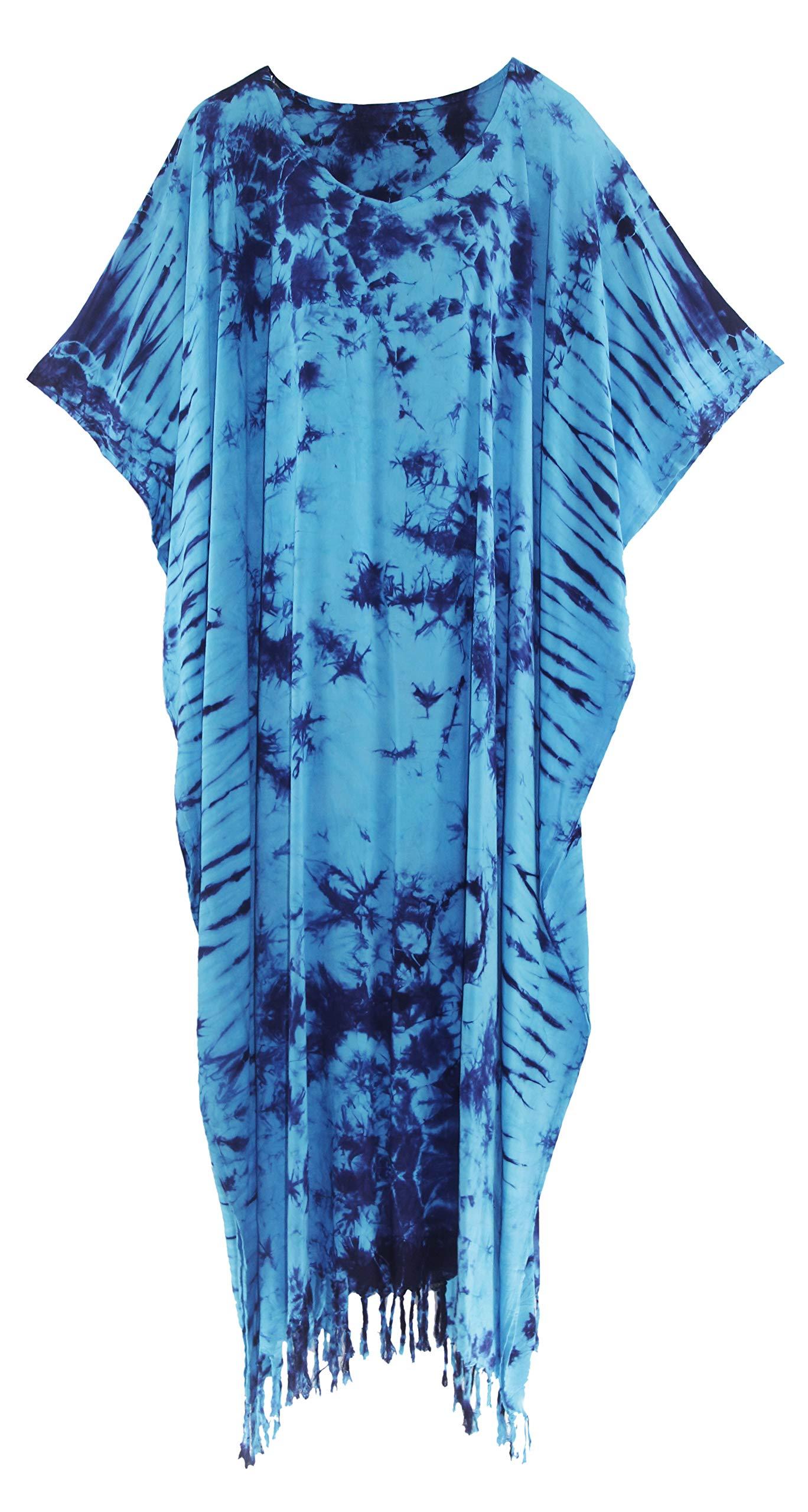 Available at Amazon: Beautybatik Women Hippie Tie Dye Caftan Kaftan Loungewear Maxi Plus Size Long Dress