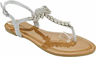 Women Elegant Sparkle Leaf Crystal Rhinestone Decorate T-Strap Thong Flat Sandal Shoes