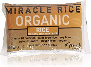 Miracle Noodle Organic Shiritaki Konjac Rice, 7 oz (Pack of 6), Low Carbs, Low Calorie, Gluten Free, Soy Free, Keto Friendly
