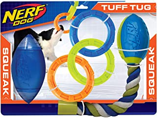Nerf Dog 3-Piece Dog Toy Gift Set, Includes 7in TPR Classic Squeak Football, 10.5in TPR 3 Ring Tug, and 14.5in TPR 2-Part ...