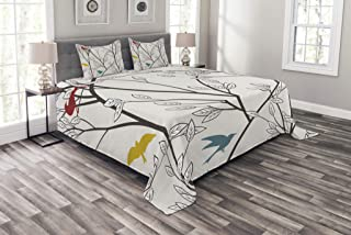 Ambesonne Nature Bedspread, Birds Wildlife Cartoon Like Image with Tree Leaf Art Print, Decorative Quilted 3 Piece Coverlet Set with 2 Pillow Shams, King Size, Mustard Maroon