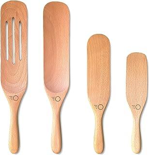 Spurtle Kitchen Tool Set   Premium Beechwood Cooking Utensils   4 pcs Wooden Spatula Set   Anti-Scratch, Heat Resistant   ...