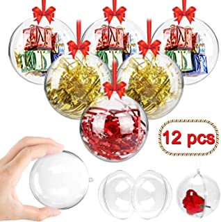 Swonuk Clear Plastic Fillable Ball Ornament Baubles, Creative Christmas Decoration Ornaments for Crafts - Pack of 12(80mm)