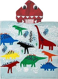 PERYOUN 100% Cotton Kids Hooded Poncho Bath/Beach/Pool Towel (Dinosaurs)