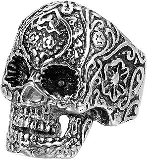 Jewelrywe Anello Gotico Cool testa di morte teschio con graffi per uomo Motociclista in acciaio inossidabile di colore ner...