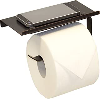 Neater Nest Reversible Toilet Paper Holder with Phone Shelf, Modern Style (Oil Rubbed Bronze, Single)