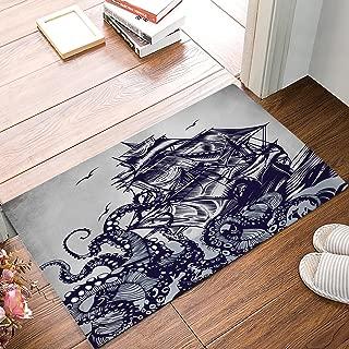 Kraken Sail Boat Waves and Octopus Monster Doormat Home Decorative Indoor Door Mat Anti-Slip Soft Entrance Rugs Washable Carpets for Living Room Bathroom Kitchen 15.7
