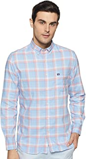 Arrow Men Blue and Pink Button Down Collar Check Casual Shirt