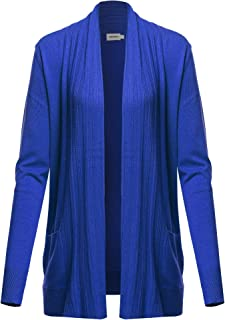 Awesome21 Women's Casual Solid Long Sleeves Long-Line Soft Sweater Viscose Knit Cardigan