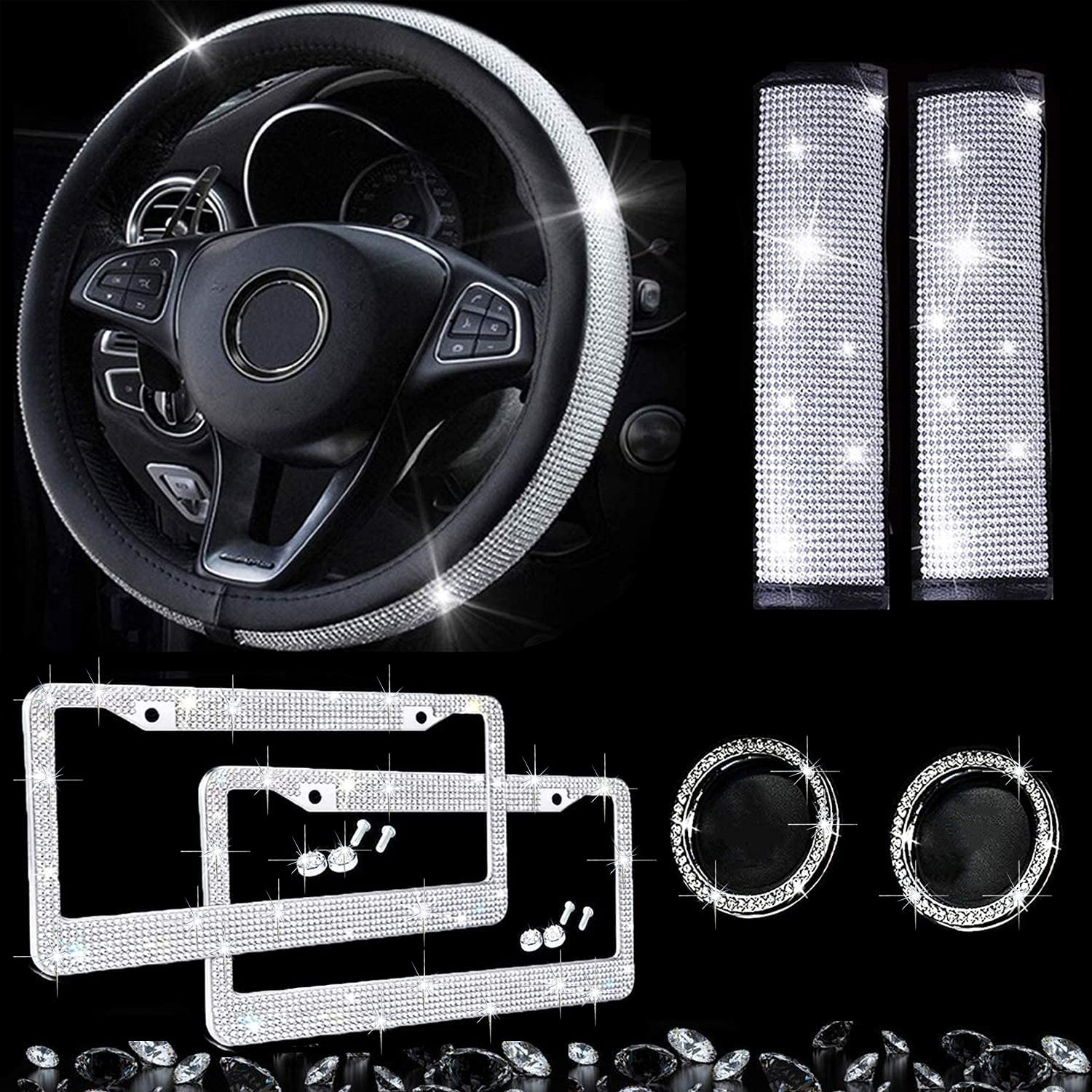Dyshuai 7Pcs Bling Car Accessories for Set Steering Women-Bling Indianapolis Mall Outstanding