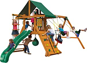 Gorilla Playsets 01-1059-AP High Point Wood Swing Set with Green Vinyl Canopy, Two Swings, Rock Climbing Wall, Slide, Amber