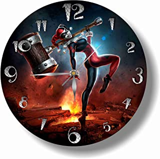 Art time design studio Harley Quinn Wall Clock Quiet Sweep Movement Decorative Battery Operated Wall Clock 11,8 Inch – for Devoted Fans of DC Comics.