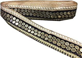 Black and Golden Sequins Work Stone Work Border by 9 Yard - Gold Gota Patti Lace,Glass Beads,Stone Work Bollywood Sari,Wedding Saree Border Embroidered Ribbons Indian Trim Embellishmets