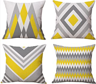 BLUETTEK Modern Simple Geometric Style Cotton Linen Burlap Square Throw Pillow Covers, 18 x 18 Inches, Set of 4 (Yellow-Gray)