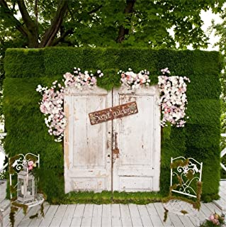 CSFOTO 8x8ft Background for Secret Garden Dreamy Fantasy Mystory Beautiful Photography Backdrop Wooden Floor Chair White Door Flowers Wedding Children Photo Studio Props Portrait Vinyl Wallpaper