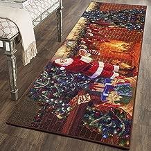 YJ.GWL Christmas Rugs Santa Claus Indoor Rug for Bedroom Living Room Anti-Slip Door Mat Xmas Floor Rugs for Kitchen or Festival Decoration Gifts, 2' x 6', Santa Claus