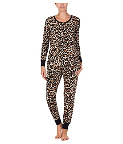 Kate Spade New York Brushed Jersey Jogger Long Pajama Set (Leopard) Women
