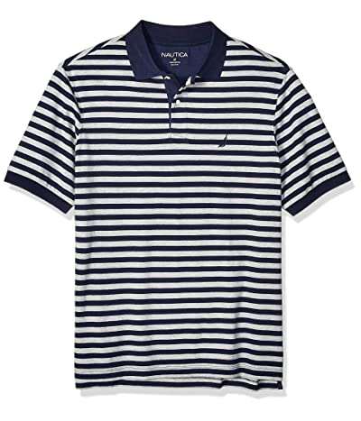 Nautica Classic Fit Short Sleeve 100% Cotton Stripe Soft Polo Shirt