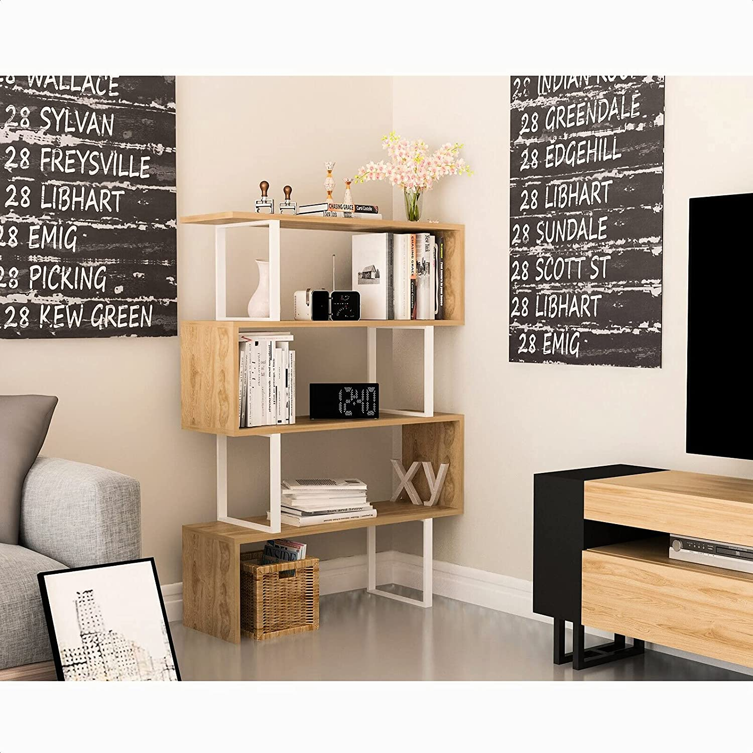 trend rank Geometric Bookcase Brand new Back Panel: Open Assembly Y Required: Adult