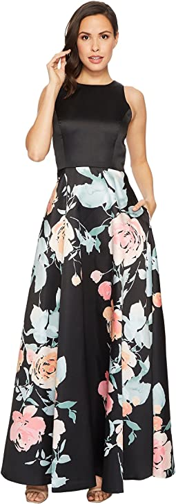 Mikado Fit and Flare Floral Bottom Gown