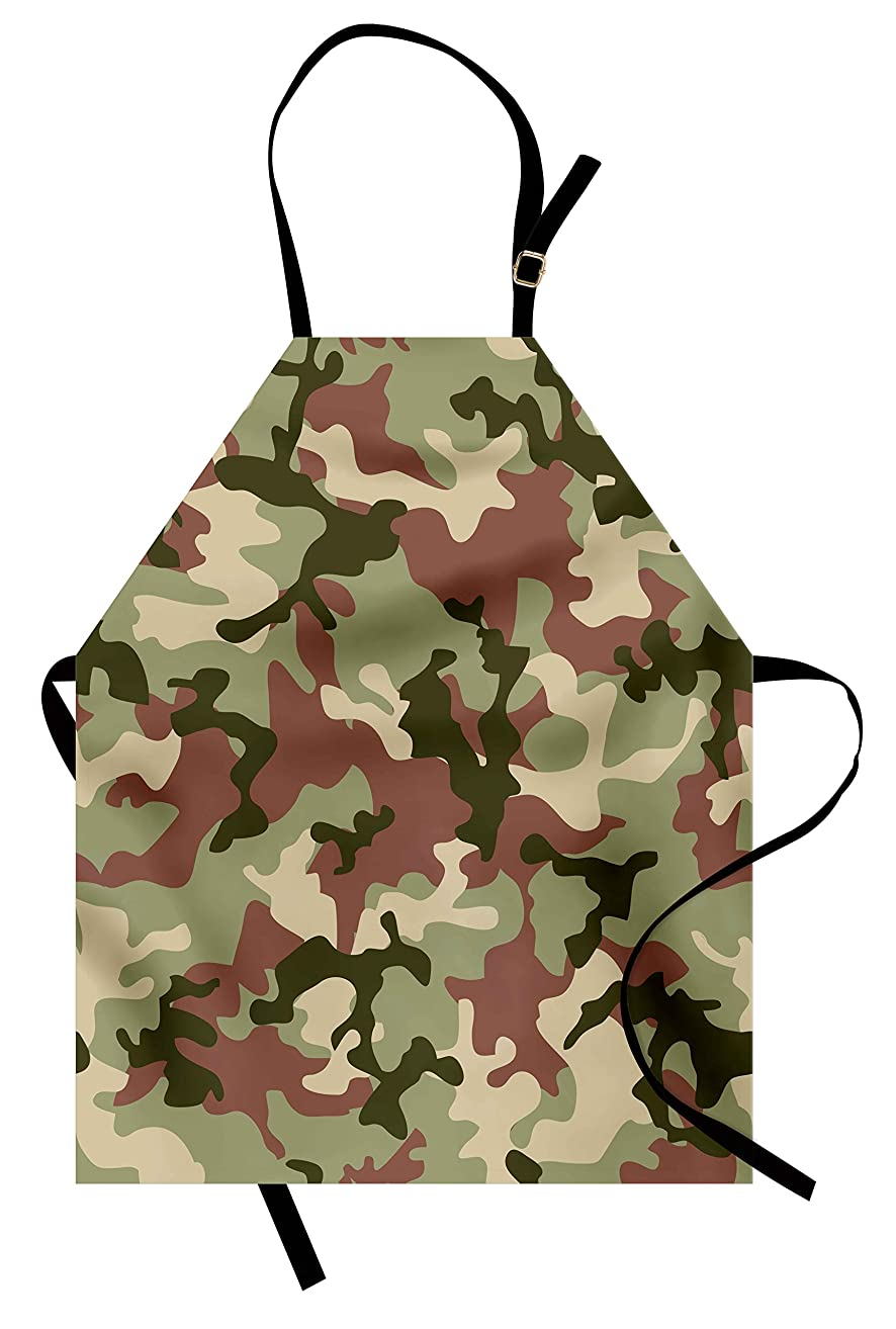 Ambesonne Camo Apron, Illustrated Green Camouflage in Forest Colors Hunter Theme, Unisex Kitchen Bib Apron with Adjustable Neck for Cooking Baking Gardening, Dark Green