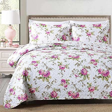 Boryard 3-Piece Full Queen Quilt Set, Lightweight Soft Full Size Quilt Bedspread Coverlet (90x90 inches) Bedding Set with 2 Pillow Shams (20x26 inches), Rose Floral Print
