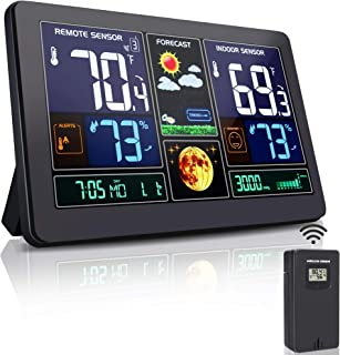 Greenke Weather Stations Wireless Indoor Outdoor Thermometer Color Large Digital Wall Alarm Clock Accurate Temperature and Humidity Monitor Calendar, Weather Forecast for Home Black