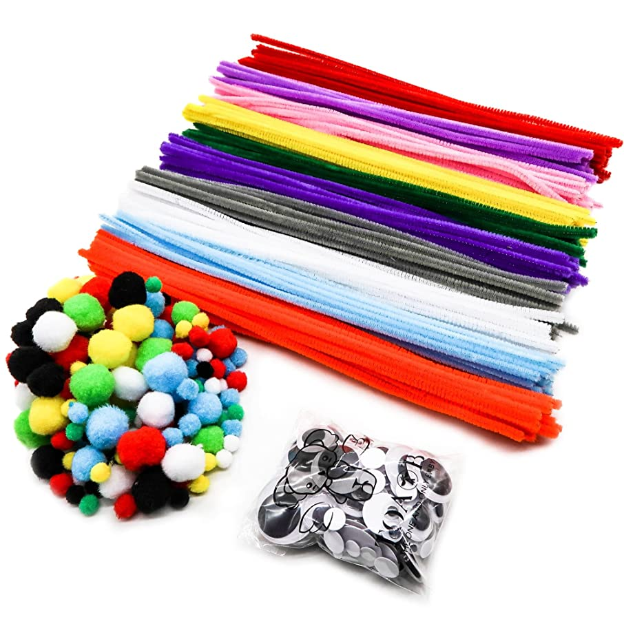 TOAOB 500pcs Pipe Cleaners Set Including 200 Colorful Pom Poms 200 Pipe Cleaners and 100 Wiggle Googly Eyes for DIY Art Supplies