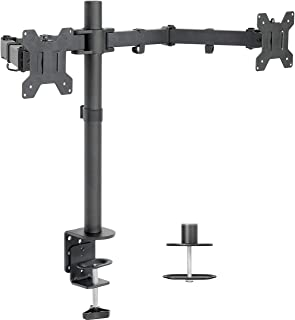 Dual LCD LED Monitor Desk Mount Stand with C-clamp and Bolt-Through Grommet Options | Heavy Duty Fully Adjustable Arms Hol...