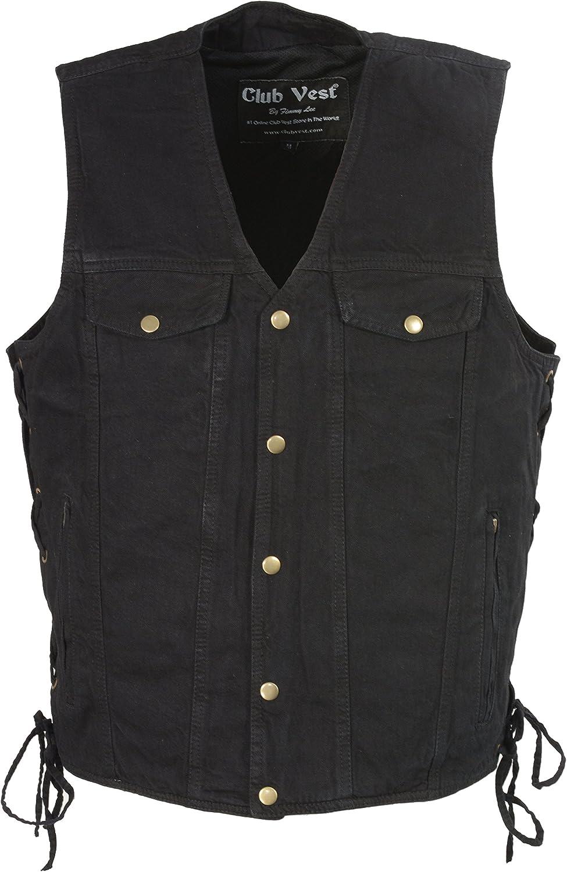 Club Vest MEN's Collarless Denim with Hidden Zipper(Black, 10X), 1 Pack