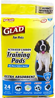 Glad for Pets Heavy Duty Ultra-Absorbent Activated Charcoal Puppy Pads with Leak-Proof edges | Black Pad with No Ugly Yellow Spots | Perfect for Training New Puppies
