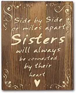 Agantree art Sisters Inspiring Quotes Wood Wall Plaque - Rustic Farmhouse Classy Vertical Wood Wall Hanging Decoration 8