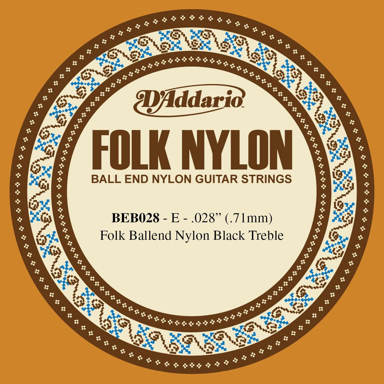 D'Addario BEB028 Folk Nylon, cuerda individual para guitarra, nailon negro, extremo de bola.028