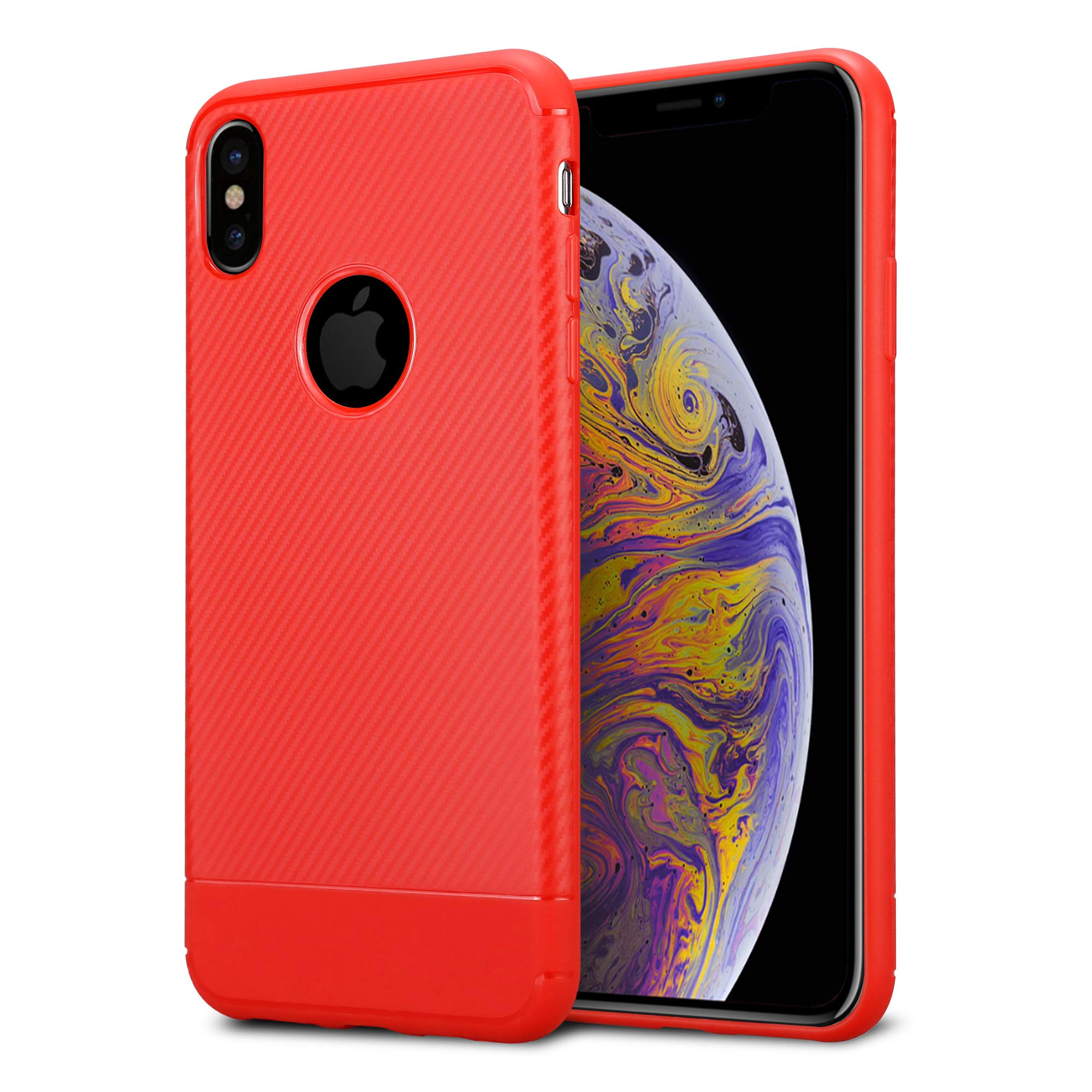 Kit Me Out World Carbon Series Case Designed for iPhone Xs Max, Full Matte Slim Fit Flexible TPU Minimal Durable…