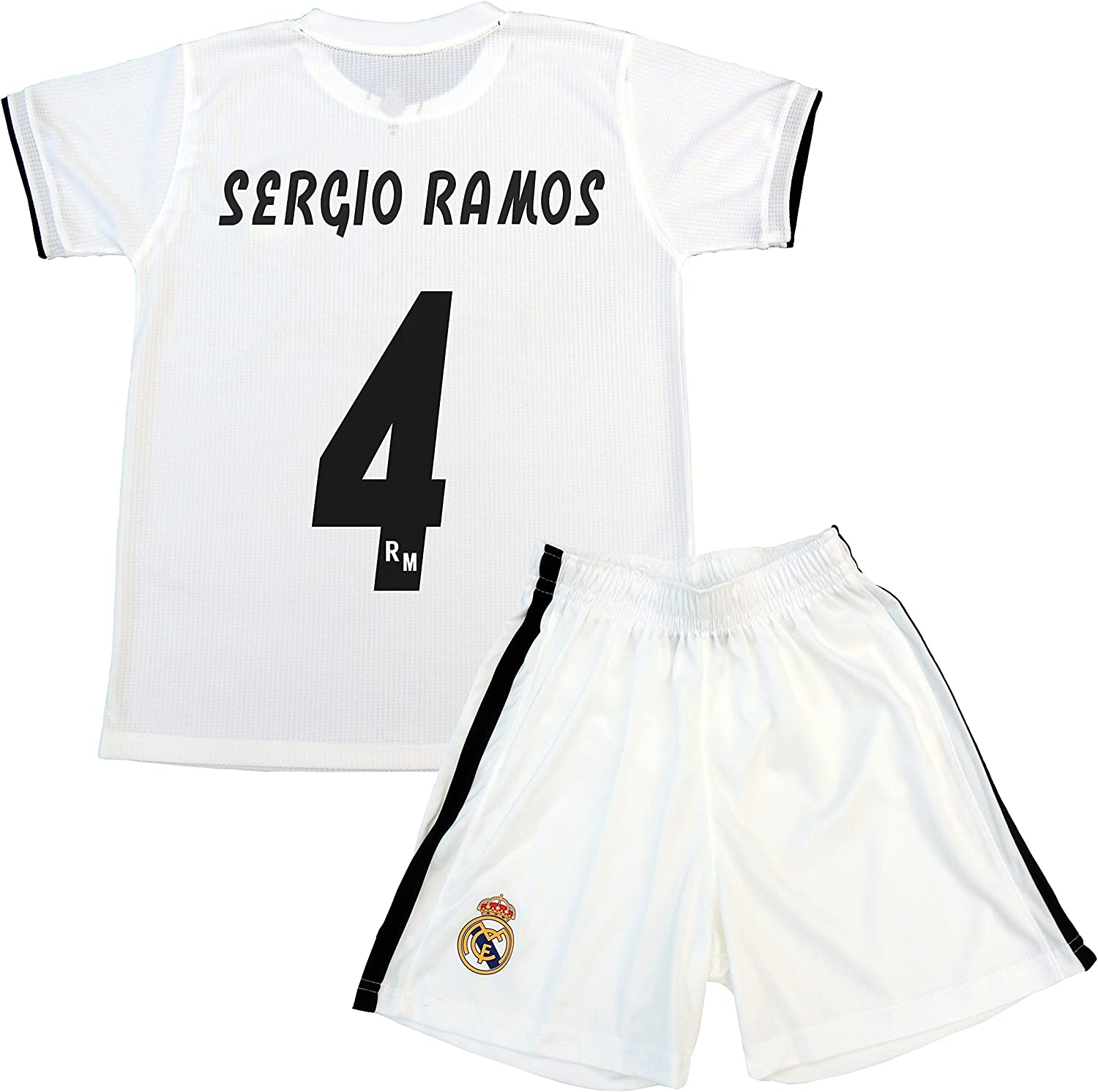 Tshirt and pants set 1st kit Real Madrid 20182019  Replica with a License  Dorsal 4 SERGIO RAMOS  Boys size 10 years  Measures Chest 43.5  Total Lenght 59  Sleeve Lenght 16 cm.