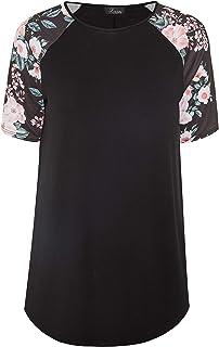 Yours - Black Floral Print Raglan Sleeve Top - Women's - Plus Size Curve