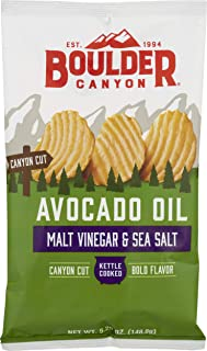 Boulder Canyon Kettle Cooked Potato Chips, Cooked in 100% Avocado Oil, Wavy Canyon Cut, NON-GMO Verified, Gluten Free, Mal...