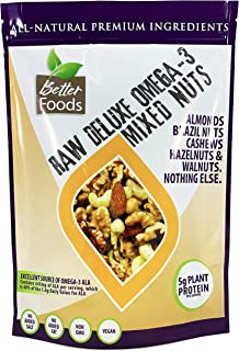 Raw Unsalted Deluxe Omega 3 Mixed Nuts (Almonds, Brazil Nuts, Cashews, Hazelnuts and Walnuts) - All-Natural Non-GMO No Add...