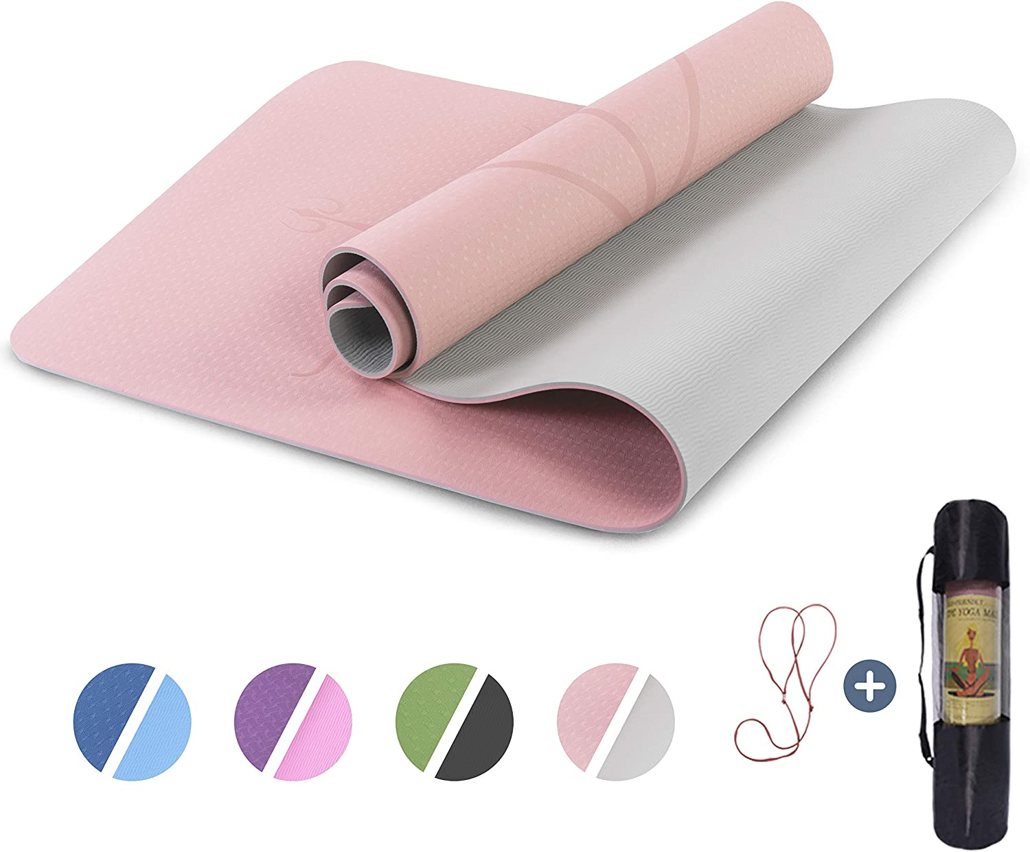 """Yoga Mat Non Slip, Pilates Fitness Mats with Alignment Marks, Eco Friendly, Anti-Tear Yoga Mats for Women, 1/4"""" Exercise Mats for Home Workout with Carrying Strap : Sports & Outdoors"""