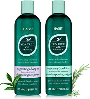 HASK Beauty Shampoos, Conditioners, Deep Conditioner Treatments and Shine Oils (TEA TREE OIL, 1 Shampoo + 1 Conditioner)