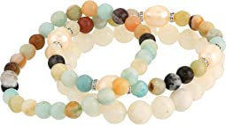 Amazonite and Pearl Beaded Bracelet Set