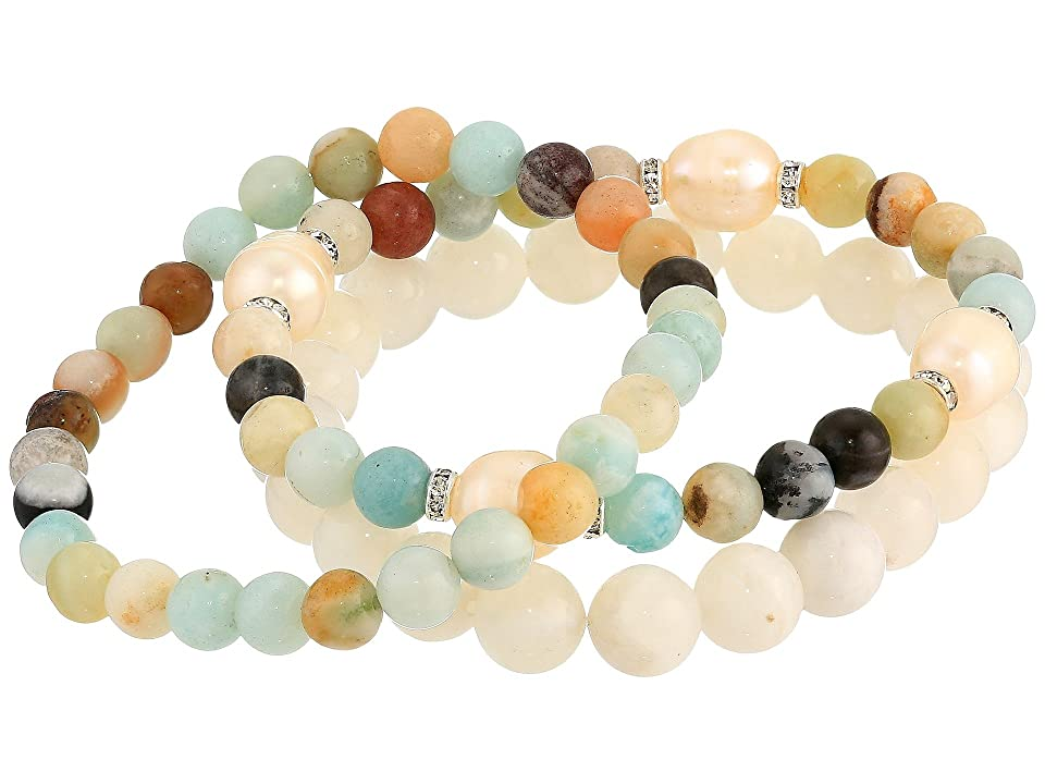 Dee Berkley - Dee Berkley Amazonite and Pearl Beaded Bracelet Set  (Green)