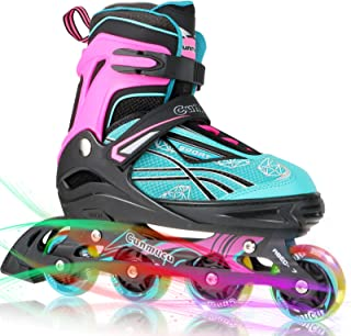 Cunmucu Adjustable Inline Skates for Kids and Adults with All Illuminating Wheels, Patines para Mujer, Outdoor Blades Roll...