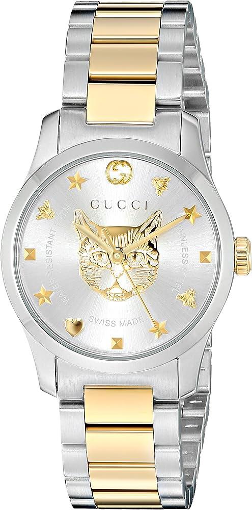 Gucci,orologio per donna,in acciaio,quadrante color acciaio con decorazioni interne color oro giallo YA126596