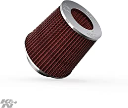K&N Universal Clamp-On Engine Air Filter: Washable: Round Tapered; 3 in/3.5 in/4 in (102 mm/89 mm/76 mm) Flange ID; 5.5 in (140 mm) Height; 6 in (152 mm) Base; 4.75 in (121 mm) Top, Red , RG-1001RD