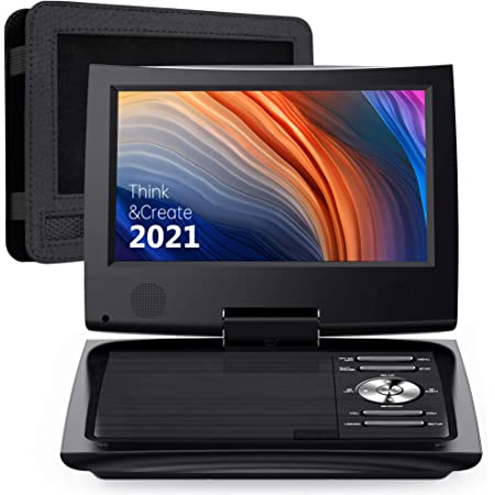 "SUNPIN 11"" Portable DVD Player for Car and Kids with 9.5 inch HD Swivel Screen, 5 Hour Rechargeable Battery, Dual Earphone Jack, Supports SD Card/USB/CD/DVD, with Extra Headrest Mount Case (Black)"